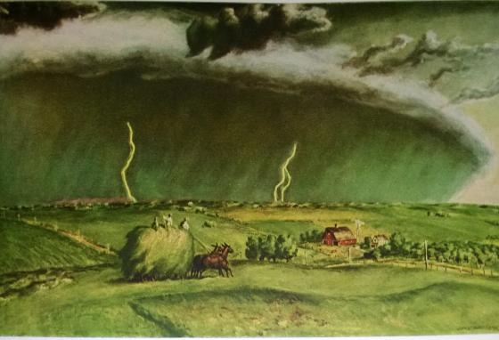 This painting by John Steuart Curry is called The Line Storm. He lived in Kansas, one of the areas where derechos are more common.