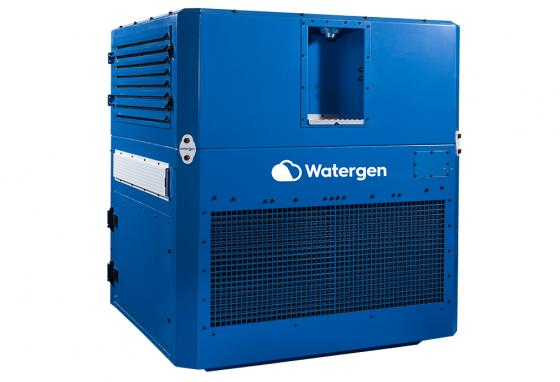 A Watergen unit pulls moisture from the surrounding air to make clean water.