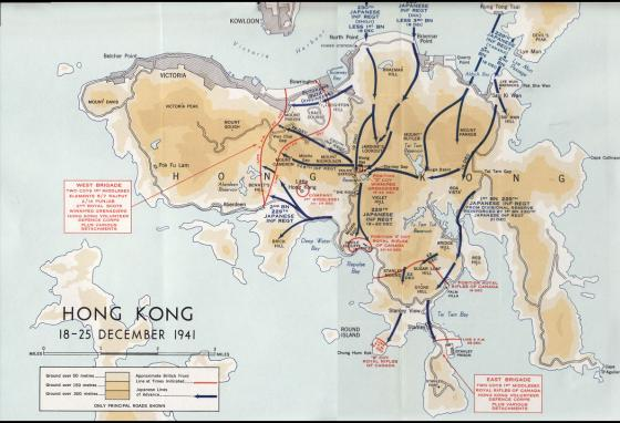 A map of Hong Kong during World War II, showing British and Japanese forces.