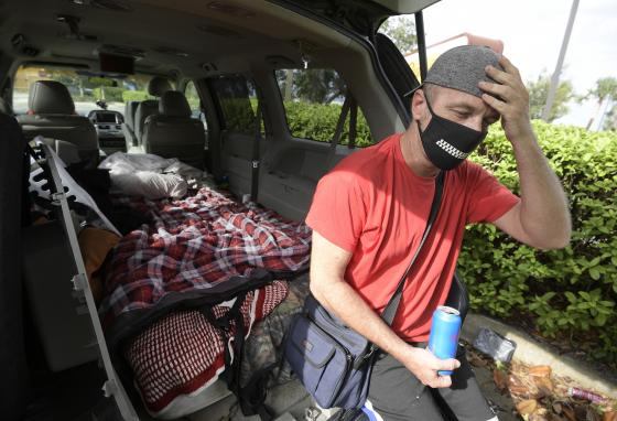 Jeff Lello has been living in his van in Orlando, Florida, since being laid off due to the coronavirus pandemic. (AP)
