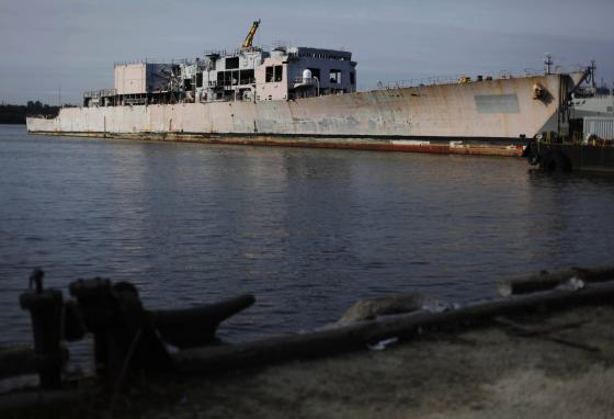 The decommissioned destroyer USS Radford was sunk in the Atlantic Ocean to form an artificial reef. (AP)