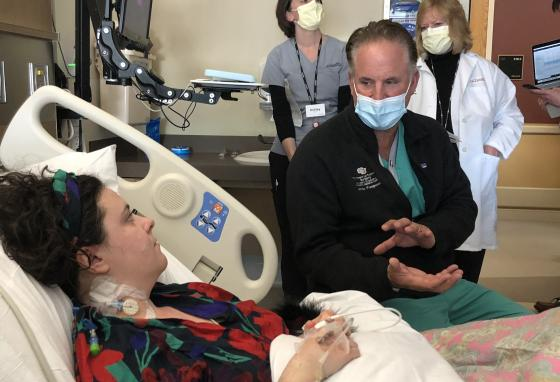 """Dr. James Pomposelli, the surgeon who performed Janet Thorin's transplant surgery, and his team stop by Margaret Stegall's room. Dr. Pomposelli tells Margaret, """"Your liver is doing great down the hall!"""""""