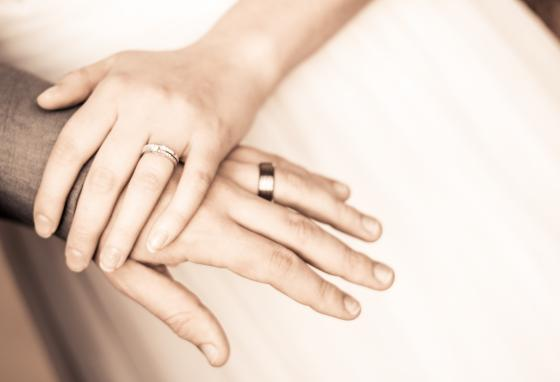 Wedding rings are a symbol of the commitment a man and a woman make when they get married.