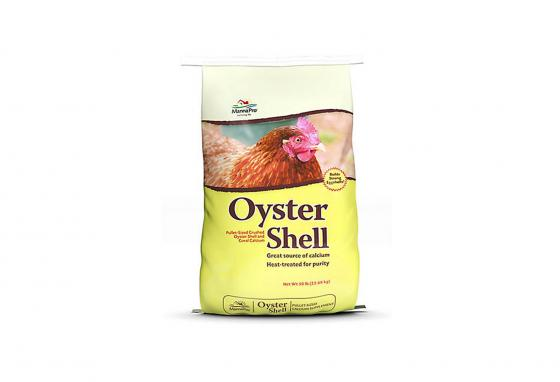 The calcium in oyster shells helps chickens lay eggs with strong shells. (tractorsupply.com)