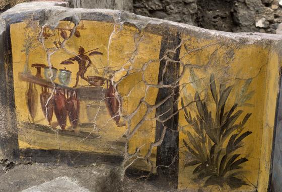 Travelers and lower-class citizens bought hot food at a thermopolium. (Luigi Spina/Parco Archeologico di Pompei via AP)