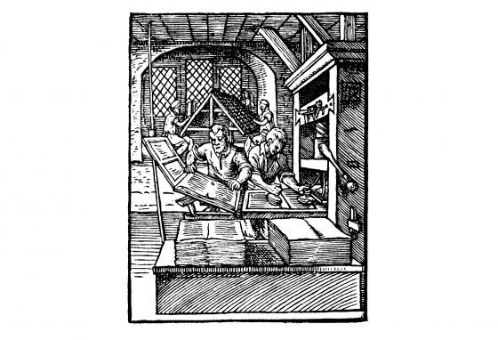 This illustration shows printers at work. On the left, one removes a printed sheet. The man next to him is inking. In the background, others are setting type.