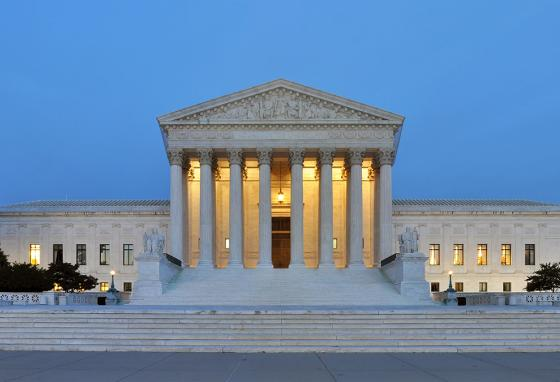 The Supreme Court building in Washington, D.C., at night (AP)