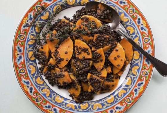 This black lentil and butternut squash dish is packed with nutrients, including vitamin A and iron. (AP)