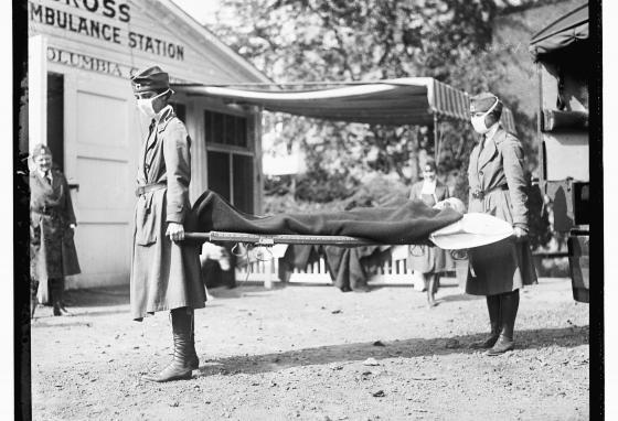 This photo shows a demonstration at the Red Cross Emergency Ambulance Station in Washington, D.C., during the 1918 pandemic. (Library of Congress Prints and Photographs Division via AP)
