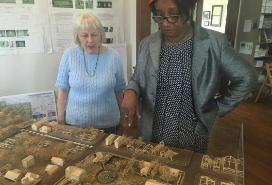 Freedmen's Town Preservation Coalition president Dorris Ellis Robinson, right, and Catherine Roberts, left, look over a model of Freedmen's Town in Houston. Scholars and preservation advocates are studying a largely forgotten piece of American history: the Underground Railroad to Mexico. (AP)