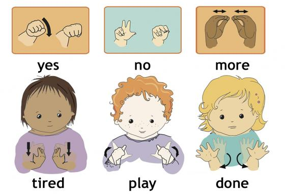 Examples of baby sign language are shown.