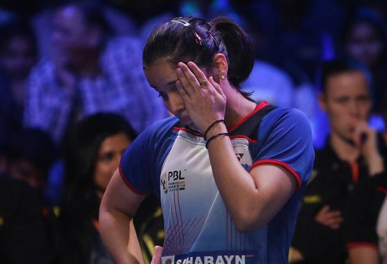 Saina shows frustration after losing a point. (AP)