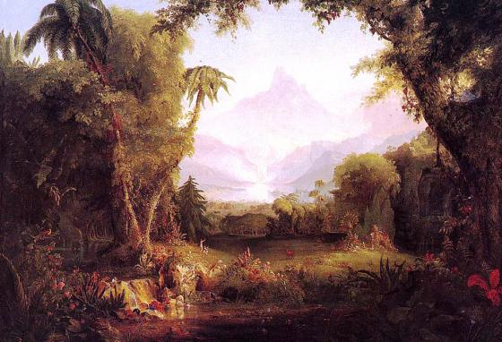 The Garden of Eden, by Thomas Cole (1828). The most likely location of the Garden would be near the head of the Persian Gulf in Iraq.