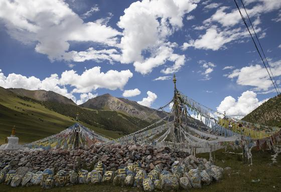 Tibetan prayer flags are seen during a clear day in Angsai. (AP)