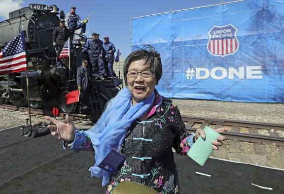 At a Promontory, Utah, celebration, Margaret Yee talks about how her ancestors helped build the Transcontinental Railroad. (AP)