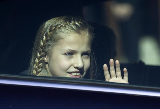 Spain's Princess Leonor waves from her father's car in Madrid in 2016. (AP)