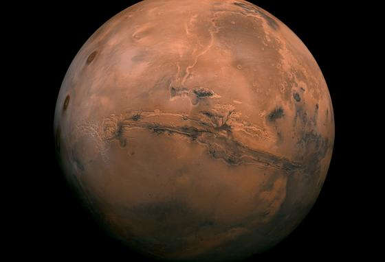 An image provided by NASA shows the planet Mars.