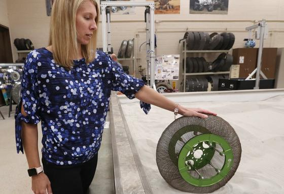 This memory-metal tire can deform but then return to its original shape. (AP)
