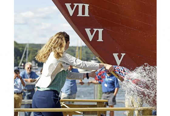 The Mayflower II is christened with water from all 50 states, England, and the Netherlands during a re-launch ceremony. (AP)