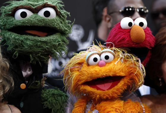 When several Muppets appear together, the performers have to crowd together. (AP)