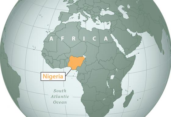 Nigeria is in western Africa on the Gulf of Guinea.