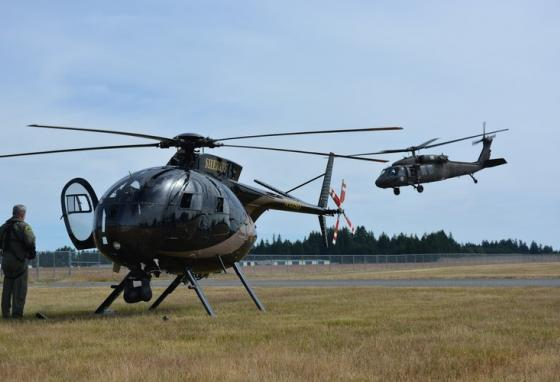 Military and police helicopters take part in a training exercise in Washington state. (AP)