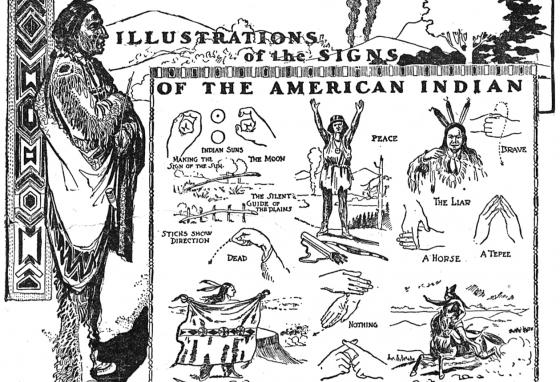 A few words in Plains Indian Sign Language are illustrated in a newspaper from 1900.