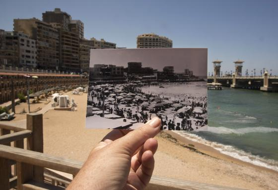 Stanley Beach in Alexandria, Egypt, is compared to a 1933 photo of the same location. (AP)