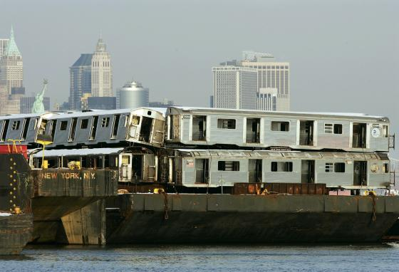 These old New York subway cars were dumped to create artificial fishing reefs off the New Jersey coast around 2009. (AP)