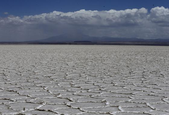 The world's largest salt flats, found in Uyuni, Bolivia, span 4,085 square miles and are as deep as 30 feet. (AP/Jorge Saenz)