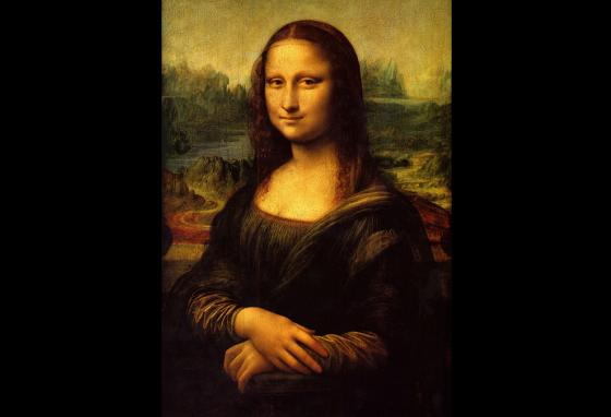 Da Vinci's famous Mona Lisa, an oil painting on a wood panel, was probably done in about 1505.