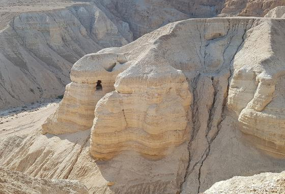 An aerial photo of the opening to the cave in Jordan