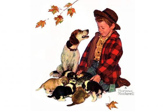 Norman Rockwell made many pictures of people with dogs. This one is called Pride of Parenthood. (Norman Rockwell)