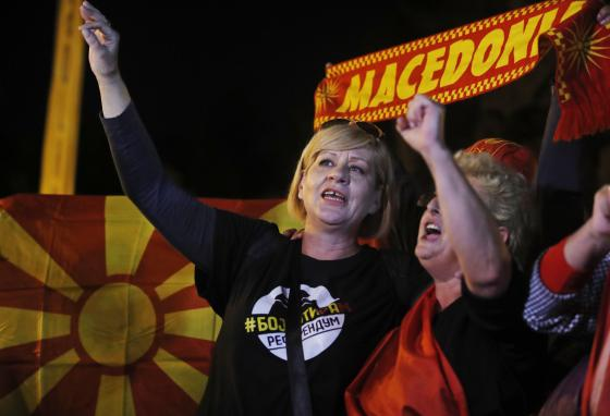 """In 2018, Greece and Macedonia agreed that the country would be renamed """"Republic of North Macedonia."""" This picture shows protesters who were against that name change. (AP/Thanassis Stavrakis)"""