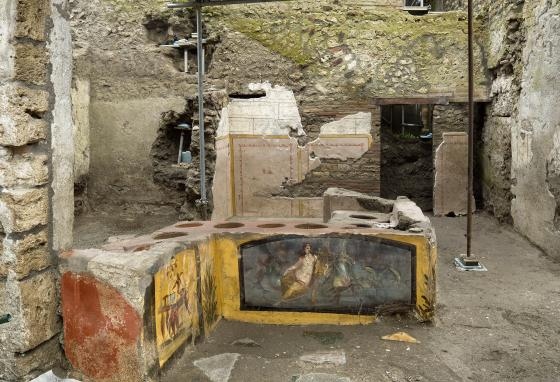About 80 of these eateries have been found at Pompeii, but this is the first time a thermopolium has been entirely uncovered. (Luigi Spina/Parco Archeologico di Pompei via AP)