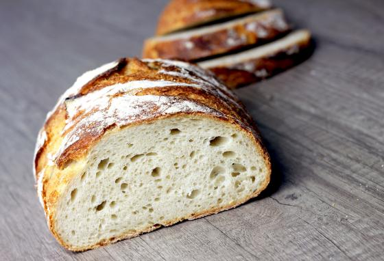 The gases that the bacteria and yeast let off created the bubbles in this finished sourdough loaf and caused it to rise. (Puratos)