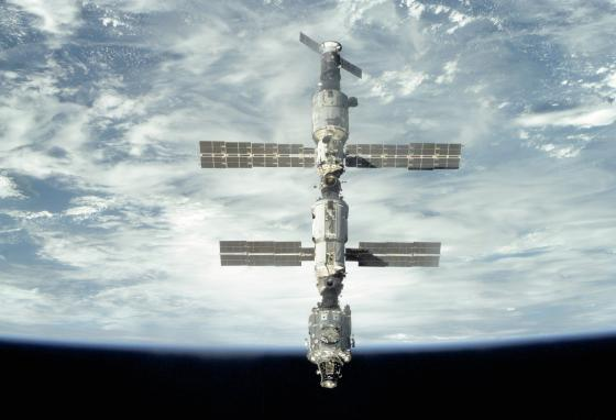 Different nations keep adding parts to the ISS. The Zvezda Service Module was launched in 2000. It provides living quarters and performs other functions. (NASA)