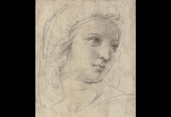 This drawing, Head of a Muse, is by the Italian Renaissance artist Raphael. Look carefully. You can see the spolvero dots under the sketch lines.