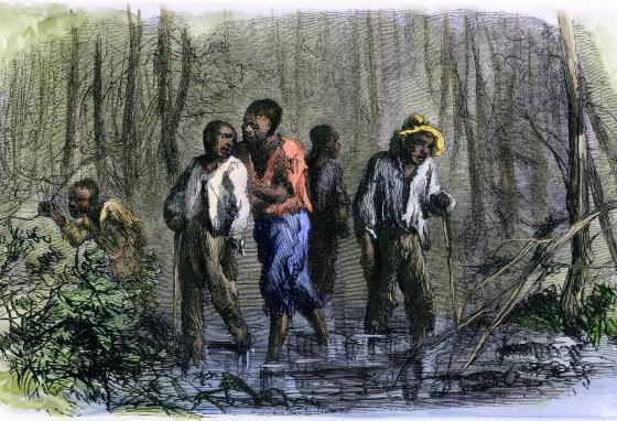 This 19th-century illustration shows escaping slaves hiding in southern swamps. (AP)