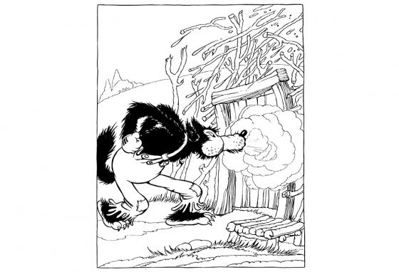 The Big Bad Wolf blows down the stick house in an illustration based on the famous 1933 Walt Disney movie version of The Three Little Pigs.